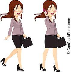 businesswoman, gå, smartphone
