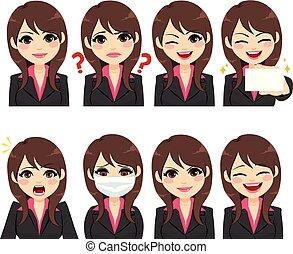 businesswoman, udtryk, avatar