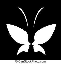 butterfly-, zeseed, logo, dame