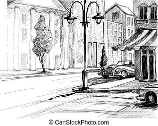 byen, bygninger, vektor, gamle, illustration, bilerne, skitse, firmanavnet, blyant, avis, gade, retro