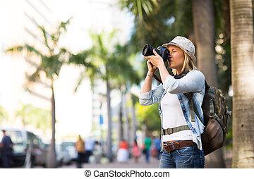 byen, indtagelse, turist, fotografier