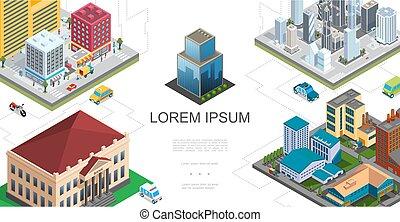 byen, isometric, komposition, landskab