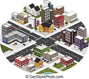 byen, isometric, scene, stor