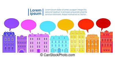 byen, netværk, farverig, medier, kommunikation, huse, sammenhænge, snakke, sociale, boble