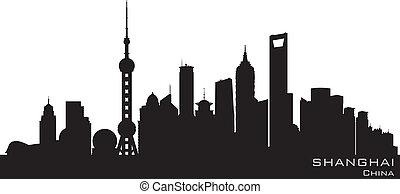 byen, silhuet, shanghai, skyline, vektor, kina