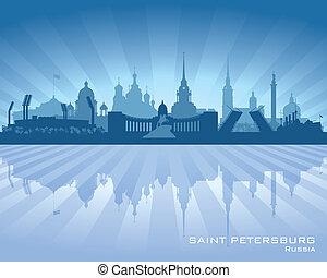 byen, silhuet, skyline, petersburg, helgen, rusland