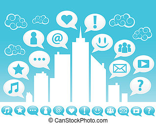 byen, sociale, icons., medier