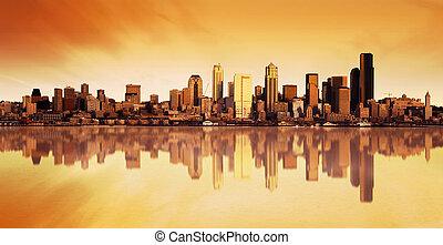 byen, solopgang, udsigter