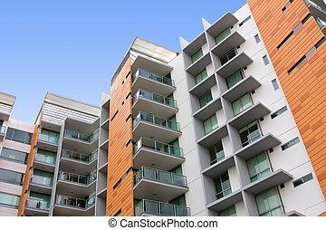 bygning, beboelses, beboelseslejligheden, moderne