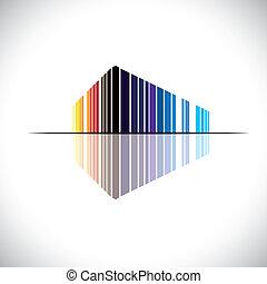 bygning, blå, kontor, osv., denne, kommerciel, graphic., moderne, -, illustration, ligesom, appelsin, farver, vektor, arkitektur, sort, rød, farverig, abstrakt, struktur, ikon