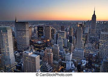 bygning, byen, with., antenne, panorama, skyline, stat, solnedgang, york, nye, kejserdømme, manhattan, udsigter