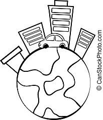 bygning, doodle, verden