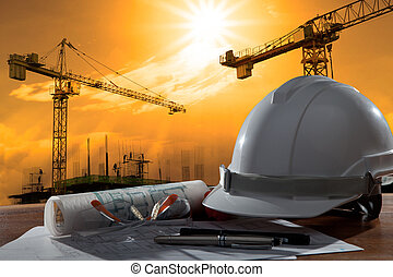 bygning, hjælm, sikkerhed, scene, pland, træ, arkitekt, fil, tabel, konstruktion, solnedgang