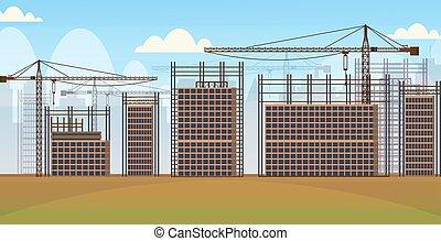 bygning, lejlighed, bygninger, ufuldendte, område, kraner, beboelses, site, konstruktion, baggrund, cityscape, horisontale