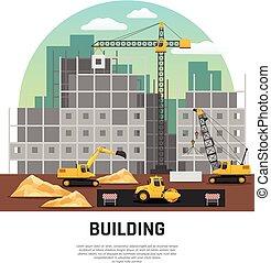 bygning, lejlighed, konstruktion maskineri, komposition
