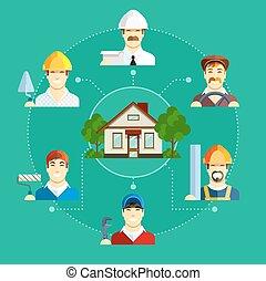 bygning, lejlighed, sæt, iconerne, house., erhverv