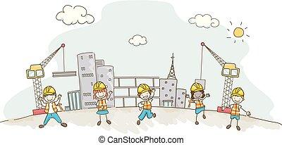 bygninger, konstruktion, stickman, illustration, børn