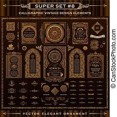 calligraphic, vektor, konstruktion, vinhøst, barok, iconerne, set., elements.