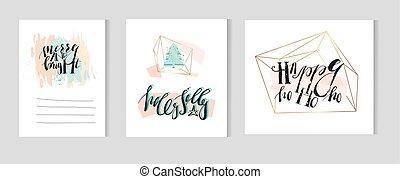 card, moderne, terrarium, calligraphy, colors., skabelon, sæt, jul, vektor, hånd, nye, faser, år, stram, træ, abstrakt, pastel, guld, kunstneriske, hils, samling, blæk