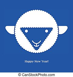 card., sheep., illustration, vektor, år, nye