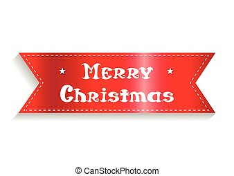card., vektor, bånd, merry, inscription., jul, rød, illustration.