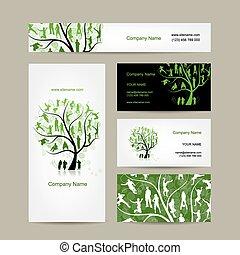 cards, firma, træ, konstruktion, familie