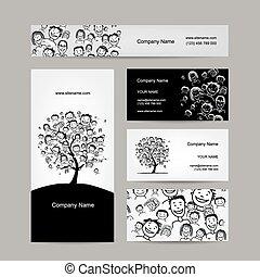 cards, træ, konstruktion, folk branche