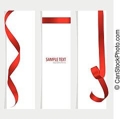 cards, vektor, illustration., rød, ribbons.