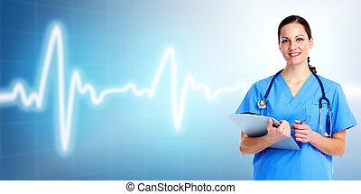care., doktor, sundhed, medicinsk, woman.