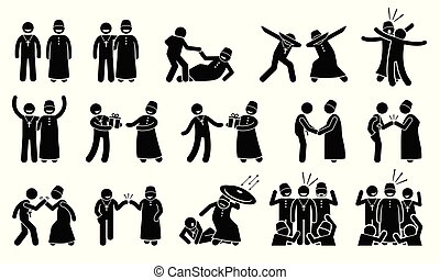 caring, kristen, arbejdere, andet., muhammedansk, sammen, hver