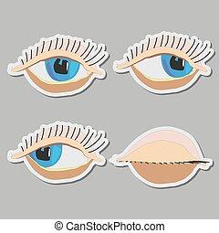 cartoon, aflukket, vektor, øjne
