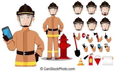 cartoon, brandmand, karakter