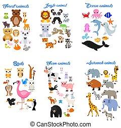 cartoon, cute, dyr, stor, samling