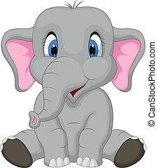 cartoon, cute, siddende, elefant