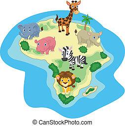 cartoon, dyr, afrikansk