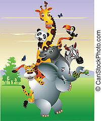 cartoon, dyr, afrikansk, vild