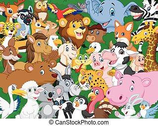 cartoon, dyr, baggrund