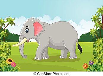 cartoon, dyr, elefant