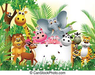 cartoon, dyr, morsom