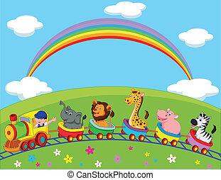 cartoon, dyr, tog