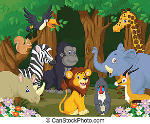 cartoon, dyr, vild