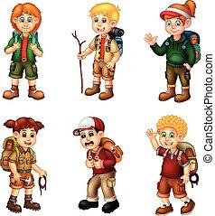 cartoon, eventyr, pakke, pige, dreng, morsom