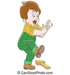 cartoon, finger, dreng, finder