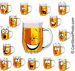 cartoon, frisk, øl krus