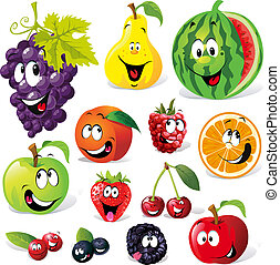 cartoon, frugt, morsom
