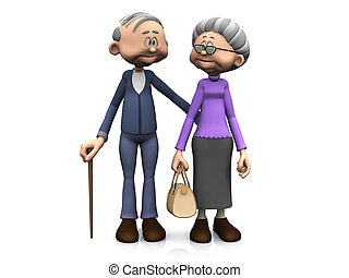 cartoon, gammelagtig, par.
