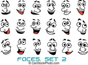 cartoon, glade, menneske, emotions, ansigter