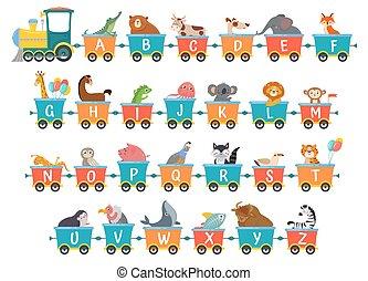 cartoon, godsvognen, illustration, dyr, animals., tog, alfabet