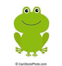 cartoon, grønne, cute, frog.