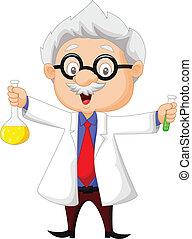 cartoon, holde, kemisk videnskabsmand